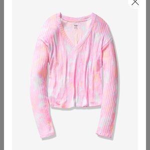 VS Pink Victoria's Secret Cozy Tie Dye Crop Tee